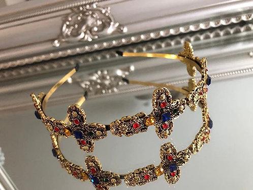 Genevieve Headband Blue Gold Red