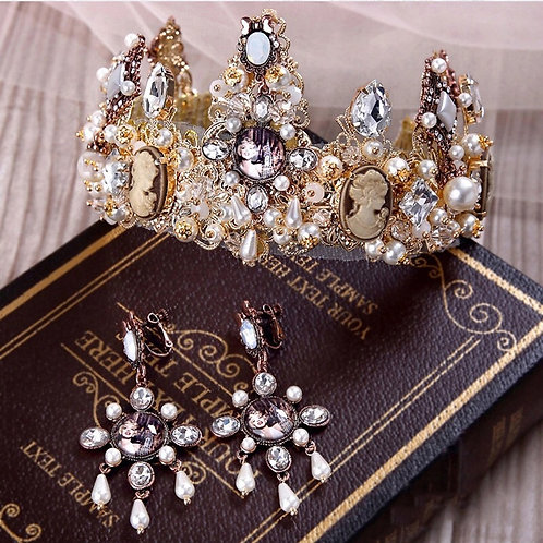 Monroe Crown & Earrings Gold Set