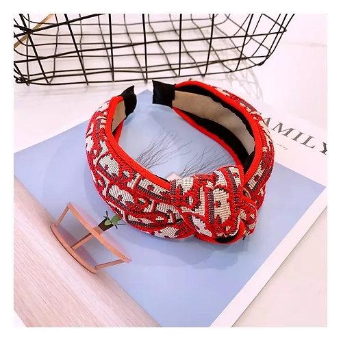 Designer D Knot Headband Red