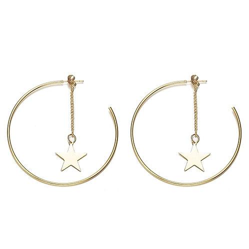Star Dangle Earrings Gold