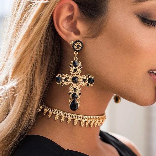 Large Cross Earrings Black