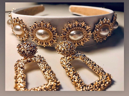 Vienna Headband Set White\Gold