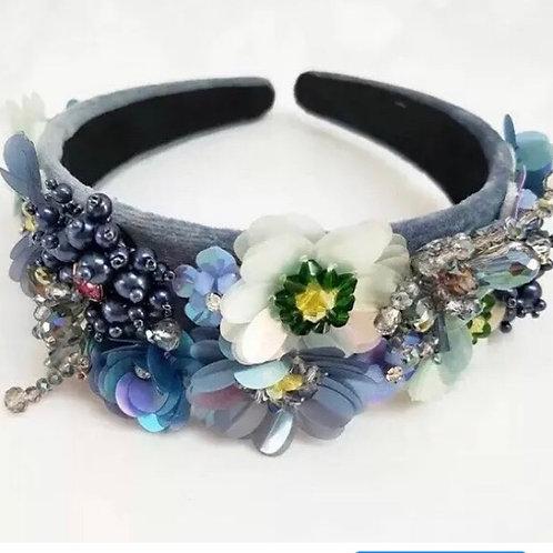 Sadie Flower Headband Blue