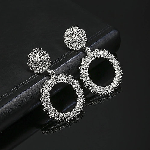 Hollow Round Earrings Silver