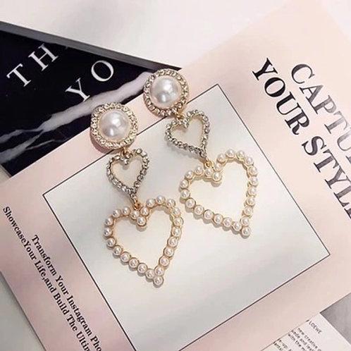 Pearl & Hearts Earrings