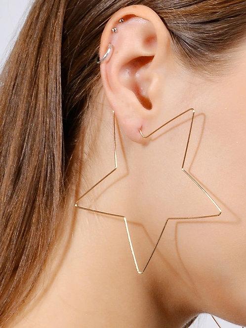 Large Star Hoop Earrings