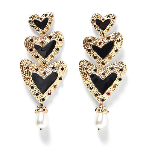 Heart Dangle Earrings Black