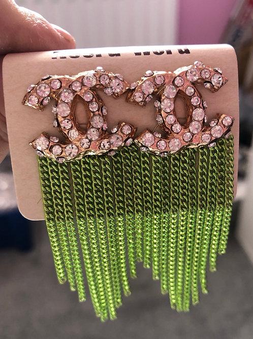 C Earrings Green