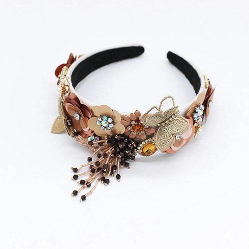 Sadie Flower Headband Gold Beige White