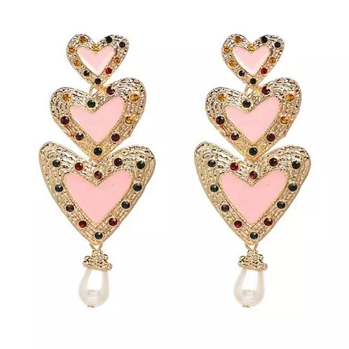 Heart Dangle Earrings Pink