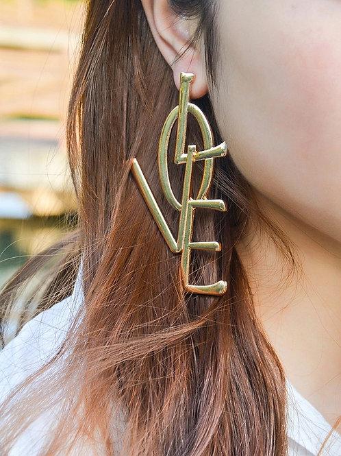 Large Love Letter Earrings Gold