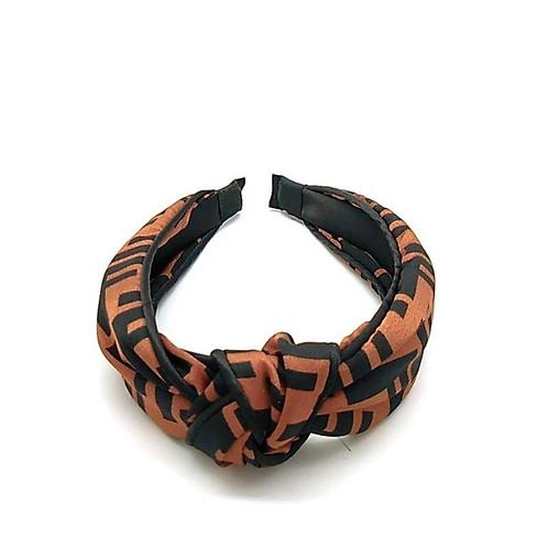 F Letter Headband Brown