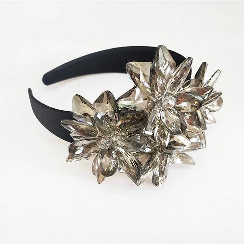 Simone Crystal Flower Headband Black