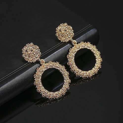 Hollow Round Earings Gold