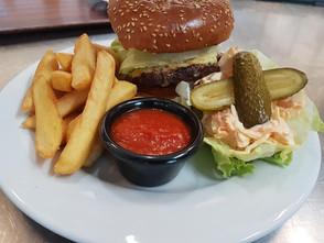 Jersey beef burger, chips, salad & chilli jam