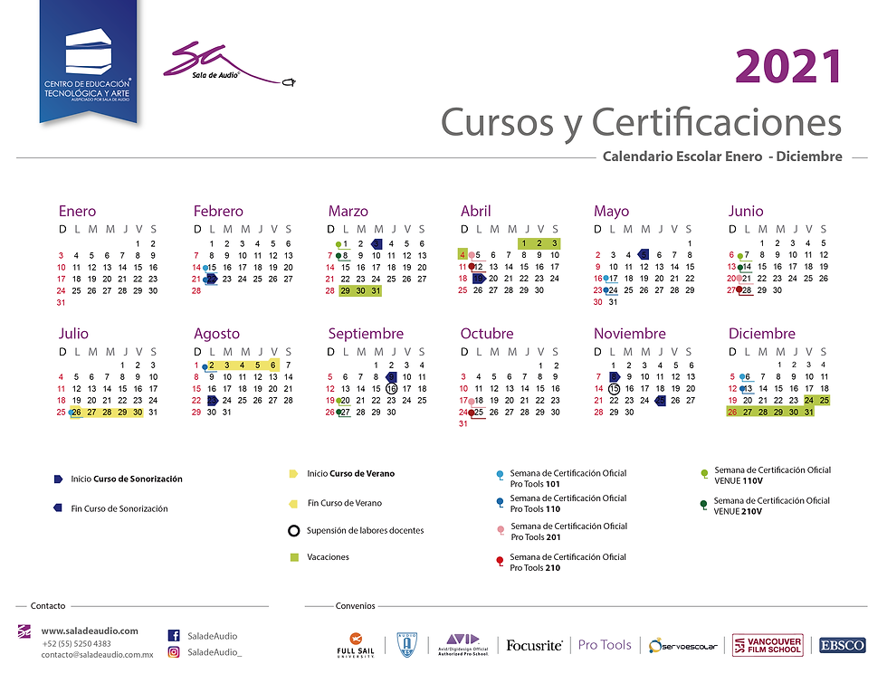 210104 Calendario Escolar Sala de Audio