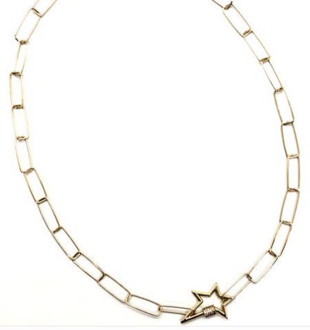 Pave Clasp Locking Star Necklace