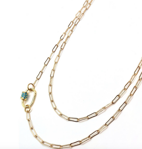 Turquoise Pave Clasp Gold Chain Necklace