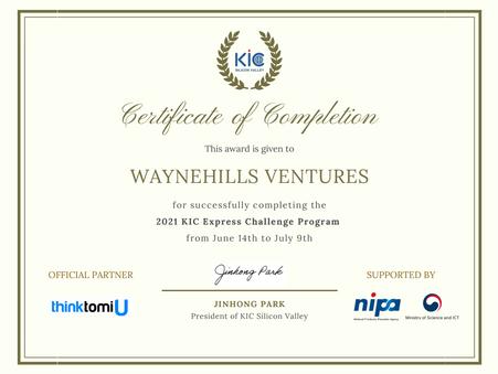 "2021.07 KIC 실리콘밸리 ""Express Challenge 프로그램 수료증"