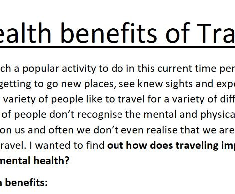 Health Benefits of Travel