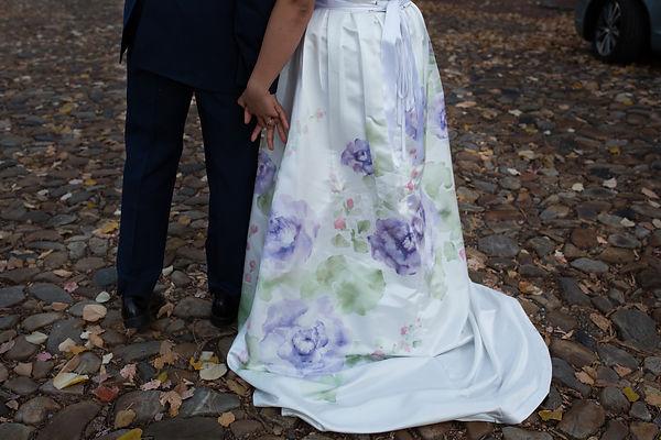 wedding dress, custom paintings, wedding flowers, wedding design, flowers