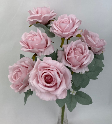 7 Heads Pink Rose with Silver Rose Leaves Bunch
