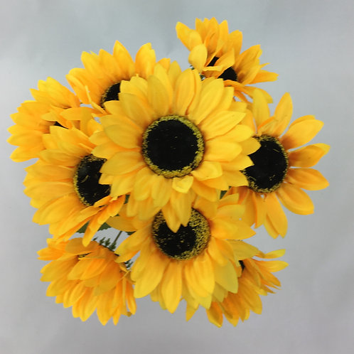 Artificial Sun Flower Bush X 9 Yellow