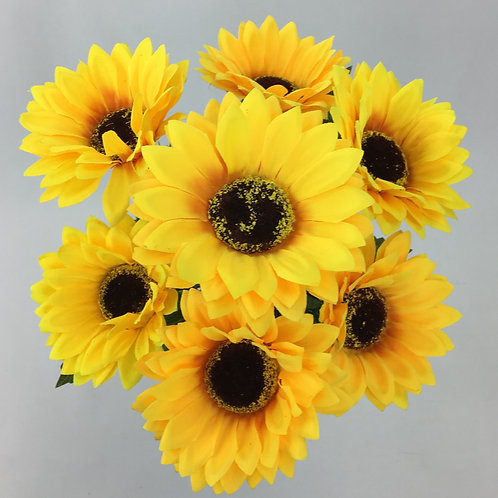 Artificial Sun Flower Bush X 7 Yellow