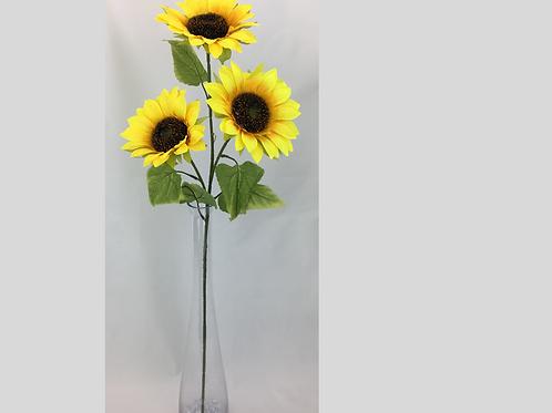 Artificial Sun Flower Stem 3 Heads Yellow 93 cm/H