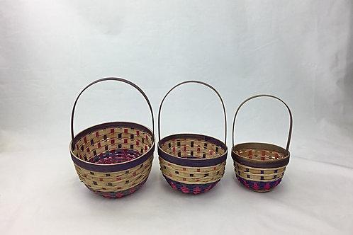 3 X Round Wood Chip Baskets