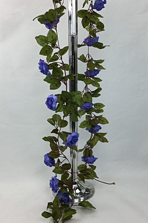 220 cm Artificial silk blue-purple rose flowers garland
