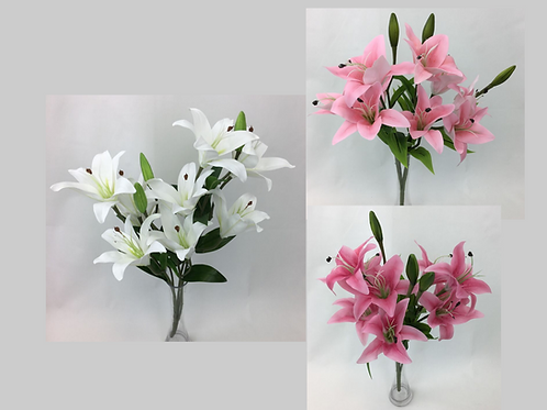Real Touch Latex Lilies/9 flower heads/3 buds/53 cm H