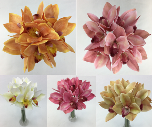 Real Touch Latex Pre-made Orchid Flowers Bouquet