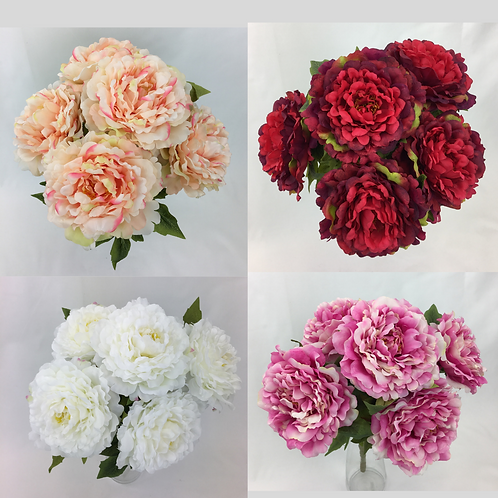 Artificial Flower Large Peony Flower Bunch. Flower Head 17cm