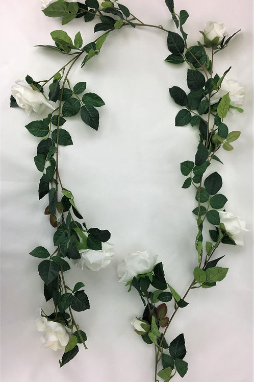 Artificial Flower White Roses Green Leaves Garland 180 cm Long with eight open r
