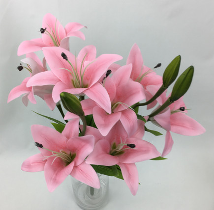 Real Touch Latex Light Pink Lily Bunch