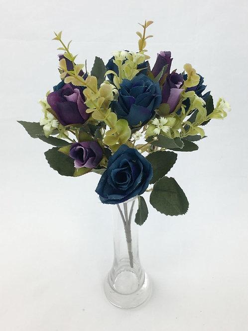 Artificial Silk Flower Dark Purple/Blue Rose Bunch.