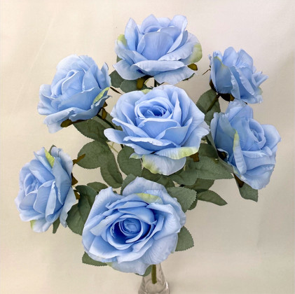 7 Heads Blue Rose with Silver Rose Leaves Bunch
