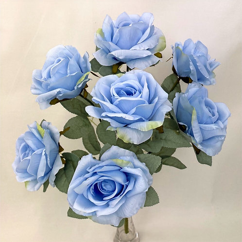 7 Heads Rose with Silver Rose Leaves Bunch
