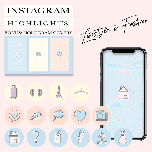 30 Instagram Story Highlight Icons, Ready Cover photos (png), PSD file