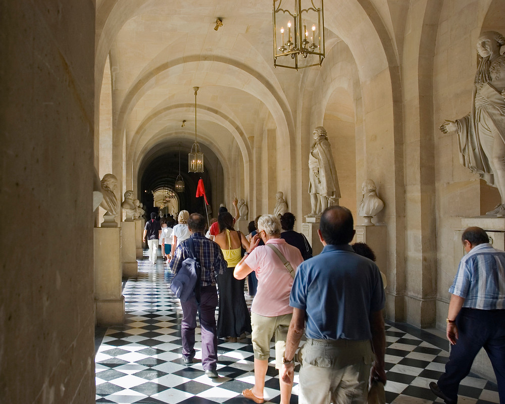 Tourists participating in a guided tour