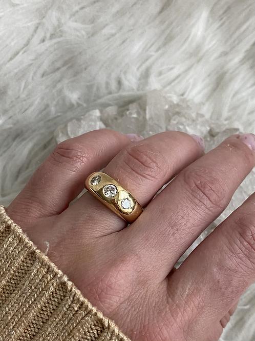 3 Stone Diamond Gypsy set ring