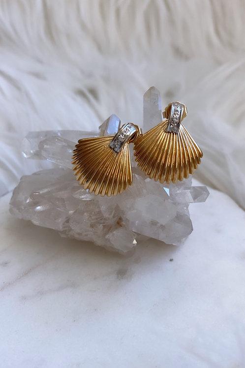 Vintage Seashell Diamond Earrings
