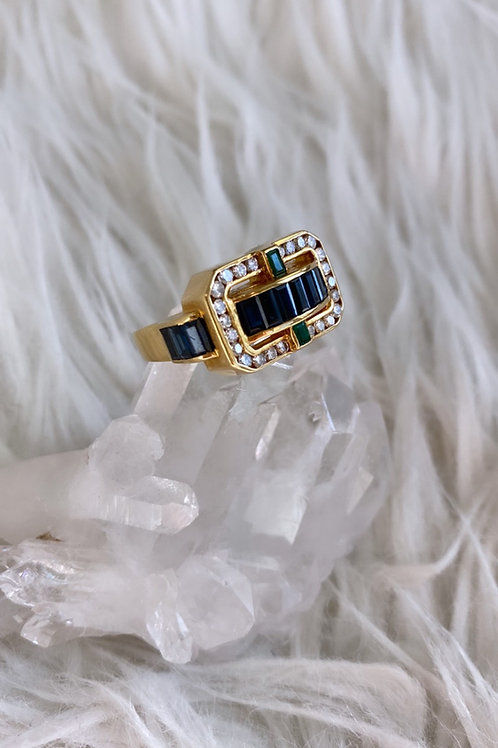 Retro Art Deco Sapphire, Emerald and Diamond Ring