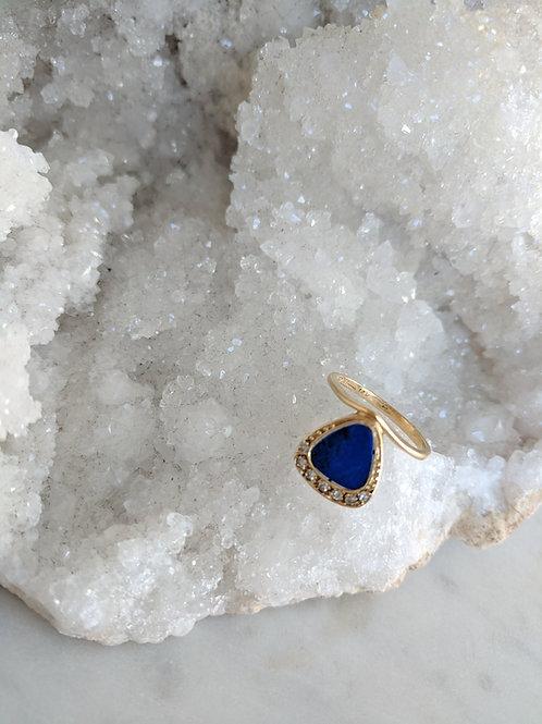Lapis & Diamond Shield Ring