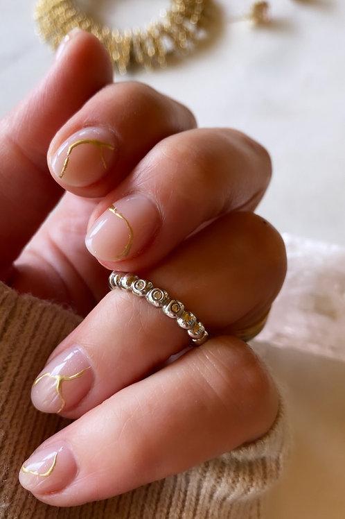 Vintage 14k white gold diamond stacking band