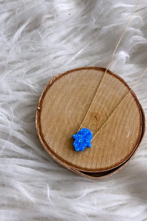 Fire Opal Hamsa Necklace