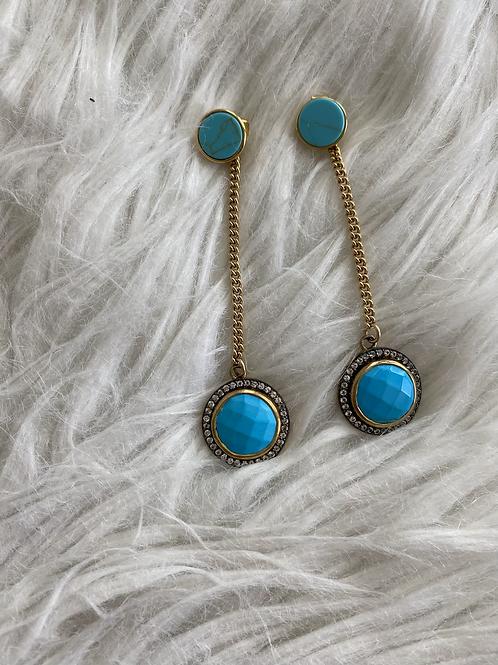 Turquoise White Topaz earrings