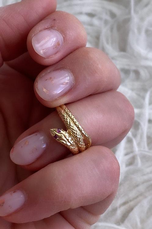 1960's Ruby Eyed Snake Ring
