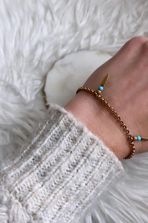 Vintage 9k gold Turquoise & Feather bracelet